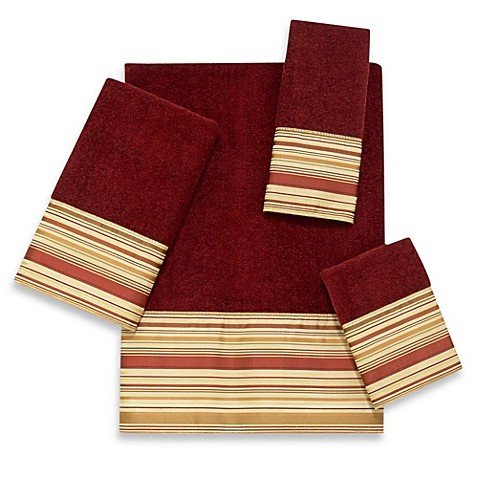 Buy Avanti Maxfield Striped Hand Towel In Brick From Bed Bath Beyond