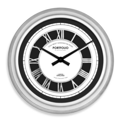 Raised Roman Numeral 20-Inch Wall Clock in Antique Silver