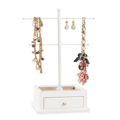 T-Bar Jewelry Stand with Drawer in White