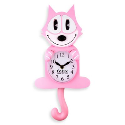 Felix the Cat 3-D Animated Wall Clock in Pink