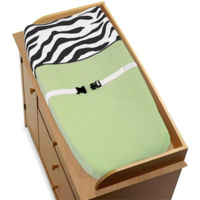 Sweet Jojo Designs Funky Zebra Changing Pad in Lime