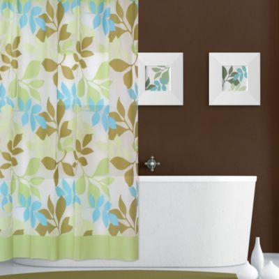 Bold Leaf Print 70-Inch x 72-Inch PEVA Shower Curtain