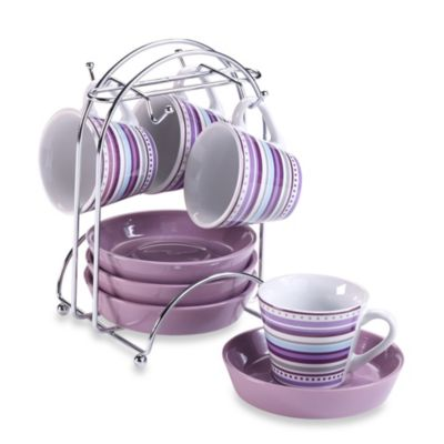 Imusa® Espresso Set in Purple Stripe (Set of 4)