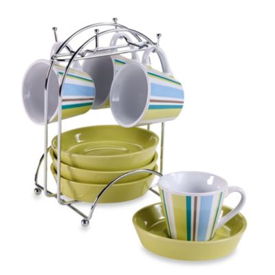 Imusa® Espresso Set in Green Stripe (Set of 4)