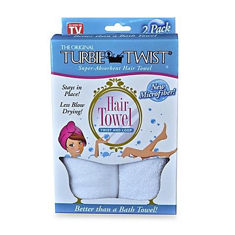 The Original Turbie Twist® Super-Absorbent Hair Towel in White (Set of 2)