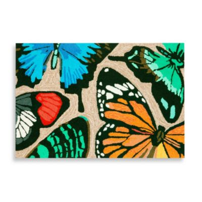 Trans-Ocean Butterfly Dance 42-Inch x 66-Inch Front Porch Rug