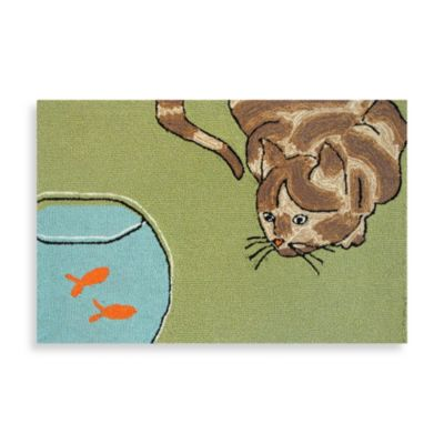 Trans-Ocean Frontporch Curious Cat 1-Foot 8-Inch x 2-Foot 6-Inch Indoor/Outdoor Rug