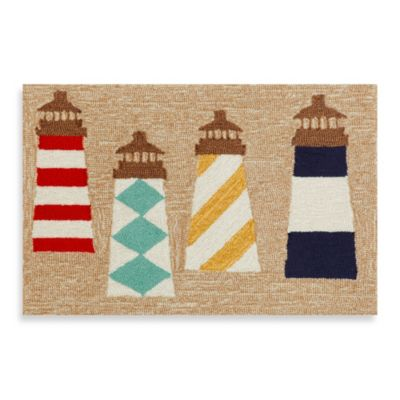 Trans-Ocean 24-Inch x 36-Inch Frontporch Lighthouses Door Mat