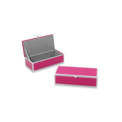 Swing Design® Mia Small Glass Rectangular Storage Box in Pink