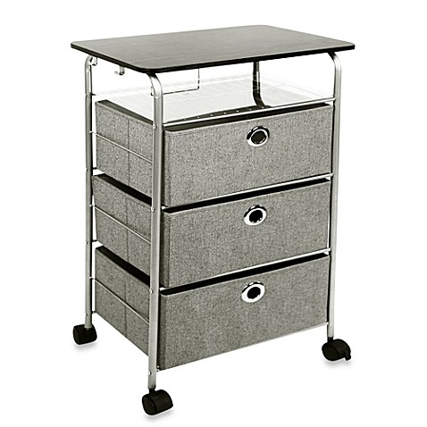 buy 3 drawer rolling cart in grey from bed bath   beyond