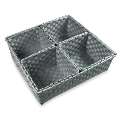 Woven Nylon 5-Piece Drawer Organizers in Grey