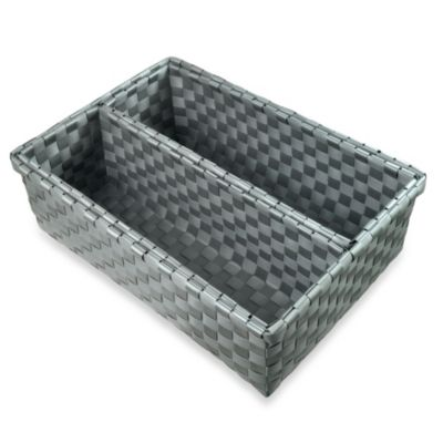 Woven Nylon 3-Piece Wide Drawer Organizers in Grey