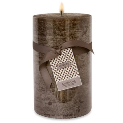 Lumiere 5-Inch x 8-Inch Amber Oak Scented Pillar Candle