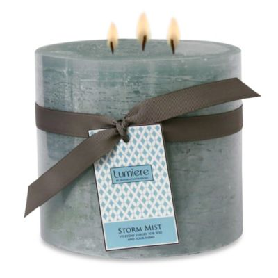 Lumiere 6-Inch x 5-Inch Storm Mist Scented Pillar Candle