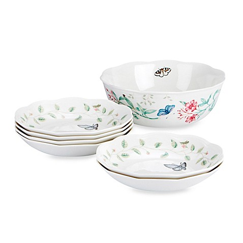 Buy lenox butterfly meadow 7 piece pasta set from bed for Table 6 lenox