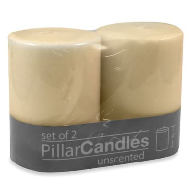 3-Inch x 4-Inch Unscented Pillar Candles in Ivory (Set of 2)
