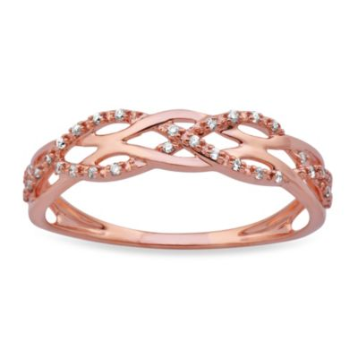 Violet and Sienna 14K Rose Gold Braided .09 cttw Diamond Size 5 Ring