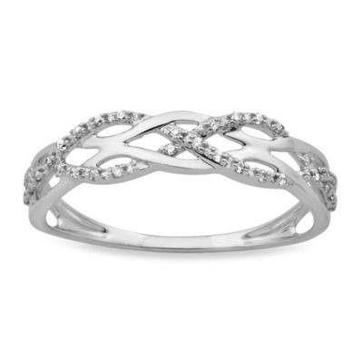 Violet and Sienna 14K White Gold Braided .09 cttw Diamond Size 5 Ring