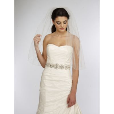 Single Tier Veil with Scattered Rhinestones in White