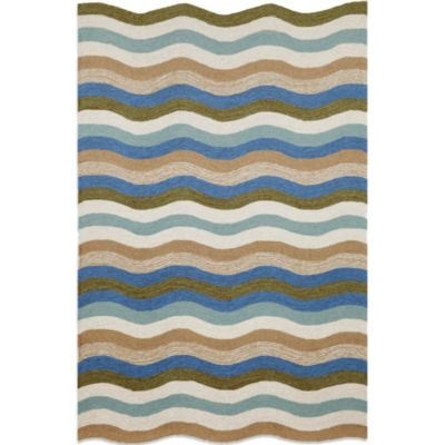Brown Jordan Carlton Waves 3-Foot 6-Inch x 5-Foot 6-Inch Indoor/Outdoor Rug in Aqua