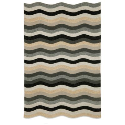 Brown Jordan Carlton Waves 7-Foot 6-Inch x 9.5-Foot Indoor/Outdoor Rug in Black