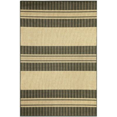 Brown Jordan Madison Stripe 1-Foot 11-Inch x 2-Foot 11-Inch Rug in Charcoal