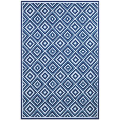 Brown Jordan Carlton Diamond 7-Foot 6-Inch x 9-Foot 6-Inch Rug in Denim