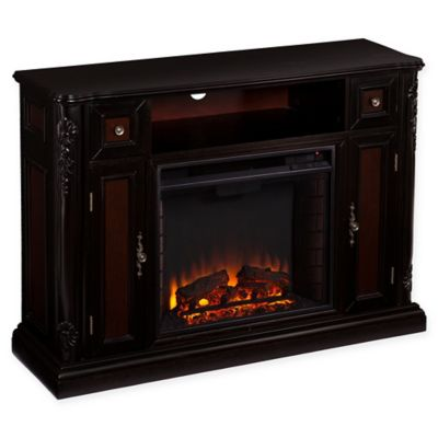 Southern Enterprises Marianna Media Console Electric Fireplace in Ebony/Dark Antique