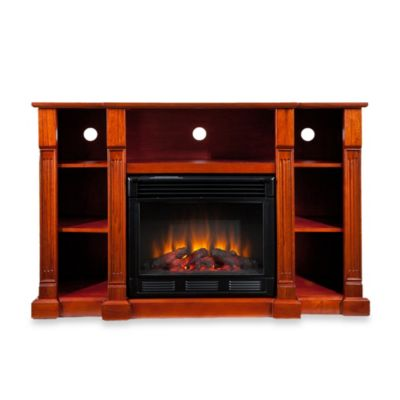 Southern Enterprises Kendall Electric Media Fireplace in Classic Mahogany