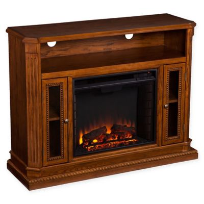 Southern Enterprises Atkinson Media Fireplace in Rich Brown Oak