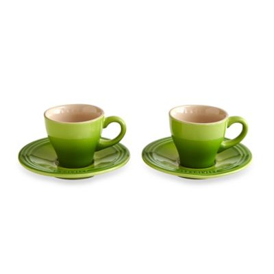 Le Creuset® Stoneware Espresso Cups and Saucers in Palm (Set of 2)