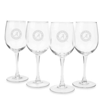 University of Alabama Engraved White Wine Glass (Set of 4)
