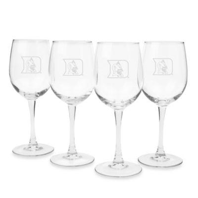 Duke University Engraved White Wine Glass (Set of 4)