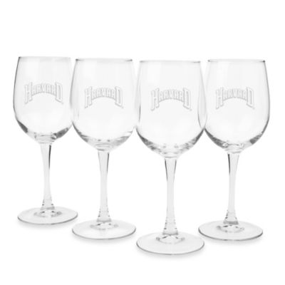Harvard University Engraved White Wine Glass (Set of 4)