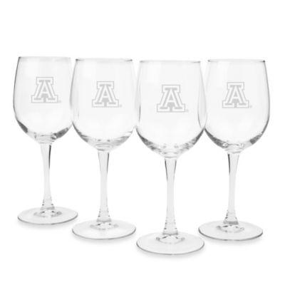 University of Arizona Engraved White Wine Glass (Set of 4)