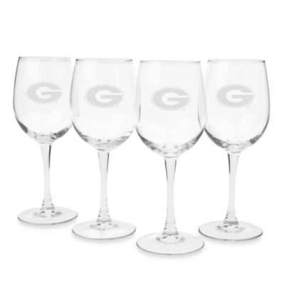 University of Georgia Engraved White Wine Glass (Set of 4)