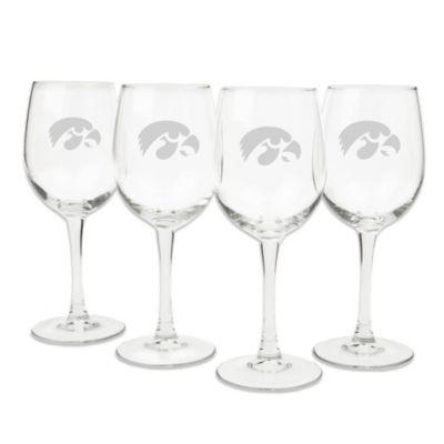 University of Iowa Engraved White Wine Glass (Set of 4)