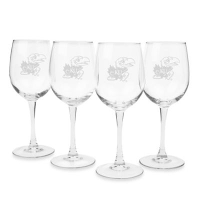 University of Kansas Engraved White Wine Glass (Set of 4)