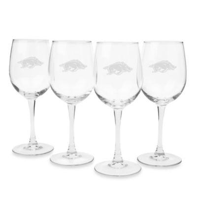 University of Arkansas Engraved White Wine Glass (Set of 4)