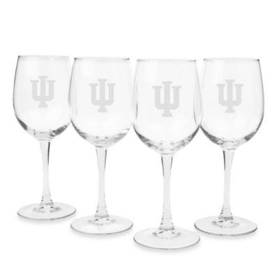 Indiana University Engraved White Wine Glass (Set of 4)
