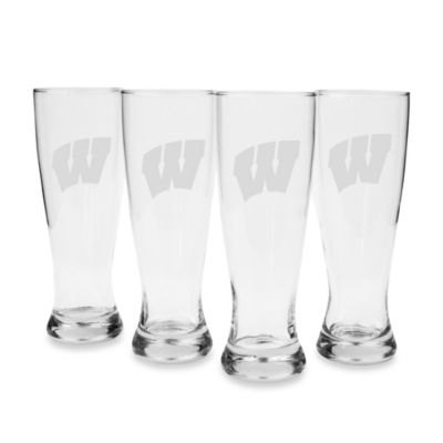University of Wisconsin Engraved Pilsner Glass (Set of 4)