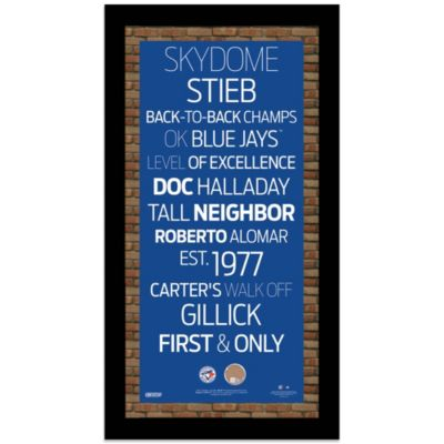 Steiner MLB Toronto Blue Jays Framed 9 1/2-Inch x 16-Inch Wall Art Subway Sign