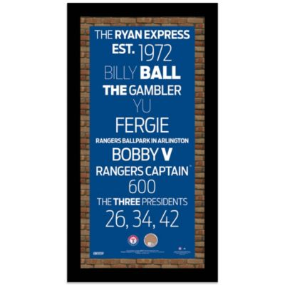 Steiner MLB Texas Rangers Framed Wall Art 9.5-Inch x 19-Inch Subway Sign