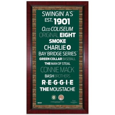 Steiner MLB Oakland Athletics Framed 16-Inch x 32-Inch Wall Art Subway Sign