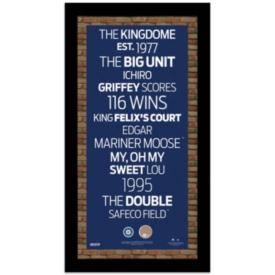 Steiner MLB Seattle Mariners Framed Wall Art 9.5-Inch x 19-Inch Subway Sign