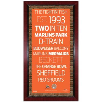 Steiner MLB Miami Marlins Framed Wall Art 16-Inch x 32-Inch Subway Sign