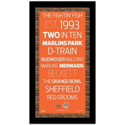 Steiner MLB Miami Marlins Framed Wall Art 9.5-Inch x 16-Inch Subway Sign