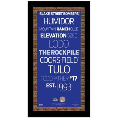 Steiner MLB Colorado Rockies Framed Wall Art 9.5-Inch x 19-Inch Subway Sign