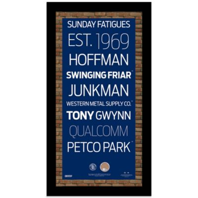 Steiner MLB San Diego Padres Framed Wall Art 9.5-Inch x 19-Inch Subway Sign