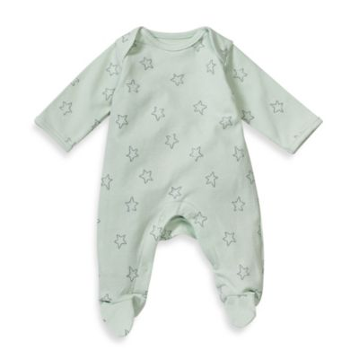 Sterling Baby Size Preemie Star Print Footed Coverall in Sage Green